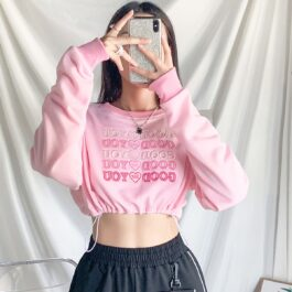 Good For You Pink Cropped Sweatshirt 1 - Orezoria Aesthetic Outfits Shop - Aesthetic Clothing - eGirl Outfits - Soft Girl Outfits
