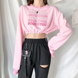 Good For You Pink Cropped Sweatshirt 2 - Orezoria Aesthetic Outfits Shop - Aesthetic Clothing - eGirl Outfits - Soft Girl Outfits
