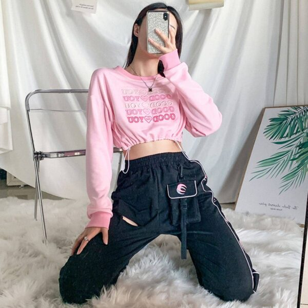 Good For You Pink Cropped Sweatshirt 3 - Orezoria Aesthetic Outfits Shop - Aesthetic Clothing - eGirl Outfits - Soft Girl Outfits