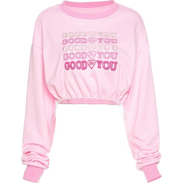 Good For You Pink Cropped Sweatshirt 4 - Orezoria Aesthetic Outfits Shop - Aesthetic Clothing - eGirl Outfits - Soft Girl Outfits
