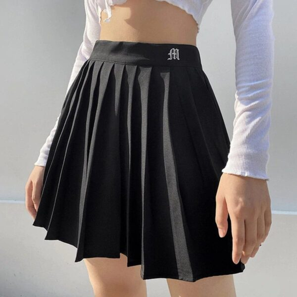 Goth Font M Letter Pleated EGirl Skirt (2)- Orezoria Aesthetic Outfits Shop - Aesthetic Clothing - eGirl Outfits - Soft Girl Outfits