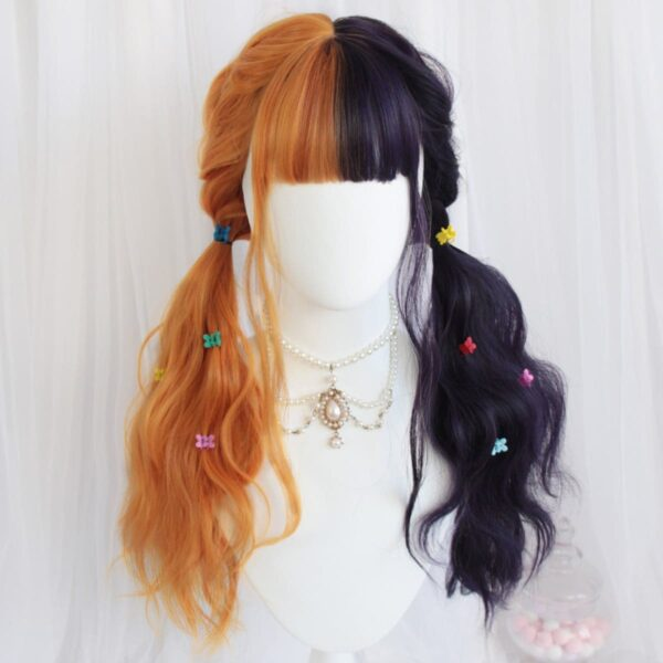 Grape Purple Split Color Orange Wig (1)- Orezoria Aesthetic Outfits Shop - Aesthetic Clothing - eGirl Outfits - Soft Girl Outfits