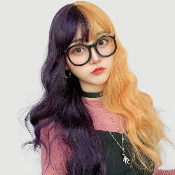 Grape Purple Split Color Orange Wig (2)- Orezoria Aesthetic Outfits Shop - Aesthetic Clothing - eGirl Outfits - Soft Girl Outfits