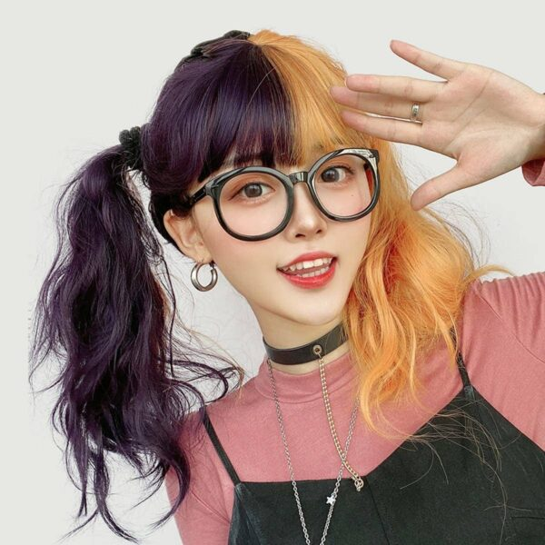 Grape Purple Split Color Orange Wig (3)- Orezoria Aesthetic Outfits Shop - Aesthetic Clothing - eGirl Outfits - Soft Girl Outfits