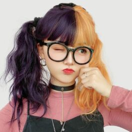 Grape Purple Split Color Orange Wig (4)- Orezoria Aesthetic Outfits Shop - Aesthetic Clothing - eGirl Outfits - Soft Girl Outfits