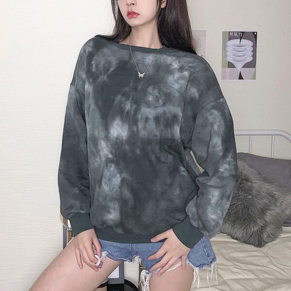 Gray Cult Tie Dye Aesthetic Sweatshirt (1)- Orezoria Aesthetic Outfits Shop - Aesthetic Clothing - eGirl Outfits - Soft Girl Outfits