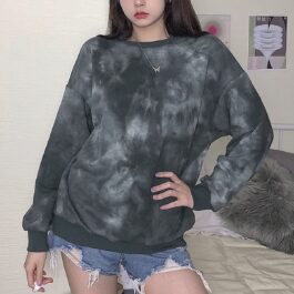 Gray Cult Tie Dye Aesthetic Sweatshirt (2)- Orezoria Aesthetic Outfits Shop - Aesthetic Clothing - eGirl Outfits - Soft Girl Outfits