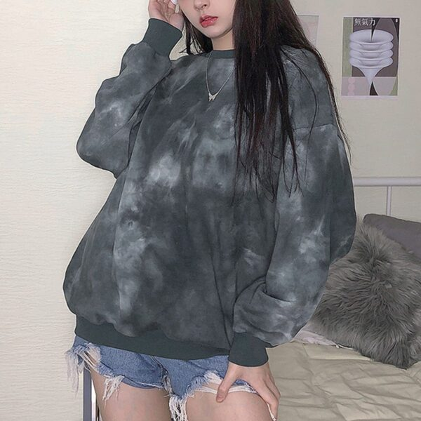 Gray Cult Tie Dye Aesthetic Sweatshirt (3)- Orezoria Aesthetic Outfits Shop - Aesthetic Clothing - eGirl Outfits - Soft Girl Outfits