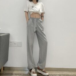 Gray Loose Athletic Workout Pants.1- Orezoria Aesthetic Outfits Shop - Aesthetic Clothing - eGirl Outfits - Soft Girl Outfits