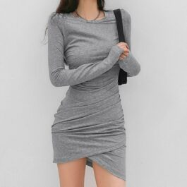 Gray Tied Waist Long Sleeve Dress.1- Orezoria Aesthetic Outfits Shop - Aesthetic Clothing - eGirl Outfits - Soft Girl Outfits