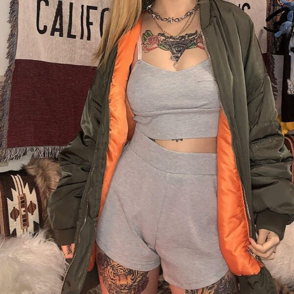 Gray Top + Shorts Workout Sport Set - Orezoria Aesthetic Outfits Shop - Aesthetic Clothing - eGirl Outfits - Soft Girl