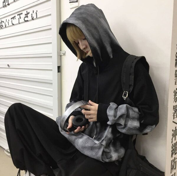 Gray Warden Ombre Core Aesthetic Hoodie 2 - Orezoria Aesthetic Outfits Shop - Aesthetic Clothing - eGirl Outfits - Soft Girl Outfits