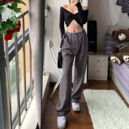 Gray Wide High Waist Mopping Pants.1- Orezoria Aesthetic Outfits Shop - Aesthetic Clothing - eGirl Outfits - Soft Girl Outfits