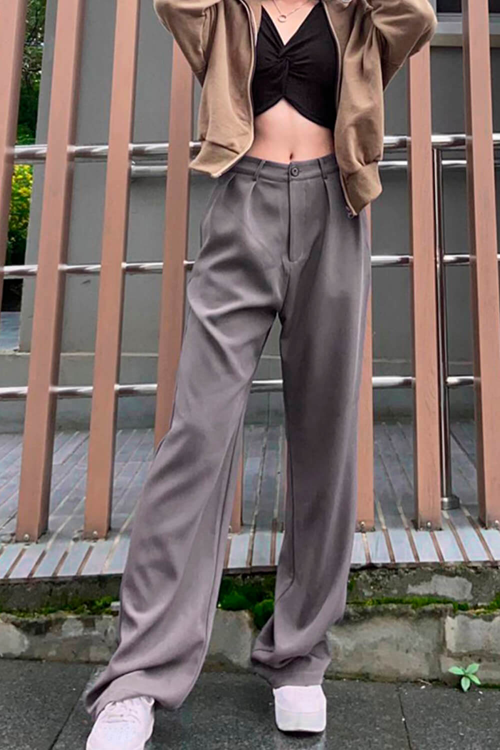 Gray Wide High Waist Mopping Pants