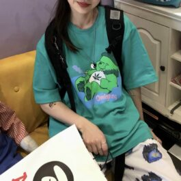 Green Care Bear Raga Omighty T-Shirt - Orezoria Aesthetic Outfits Shop - Aesthetic Clothing - eGirl Outfits - Soft Girl Outfits.psd