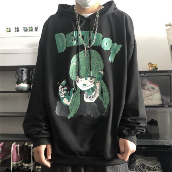 Green Destboy Retro Anime Hoodie 1- Orezoria Aesthetic Outfits Shop - Aesthetic Clothing - eGirl Outfits - Soft Girl Outfits