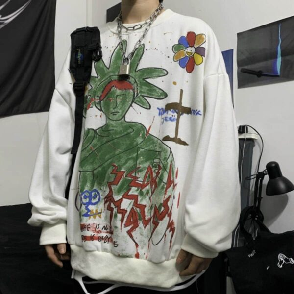 Green Liberty Drawing Unisex Sweatshirt 1- Orezoria Aesthetic Outfits Shop - Aesthetic Clothing - eGirl Outfits - Soft Girl Outfits
