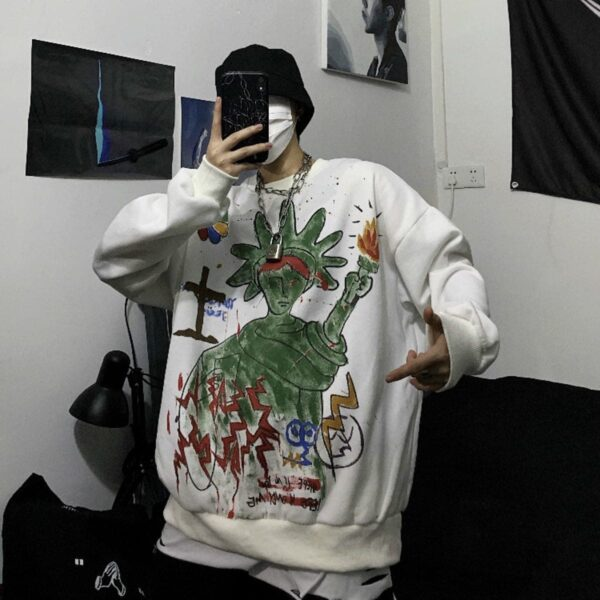 Green Liberty Drawing Unisex Sweatshirt 3- Orezoria Aesthetic Outfits Shop - Aesthetic Clothing - eGirl Outfits - Soft Girl Outfits