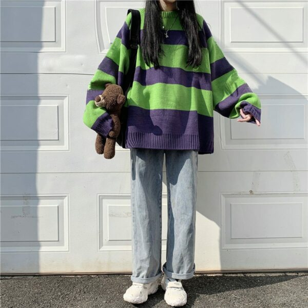 Green and Purple Core Striped Sweater 1 - Orezoria Aesthetic Outfits Shop - Aesthetic Clothing - eGirl Outfits - Soft Girl Outfits.psd