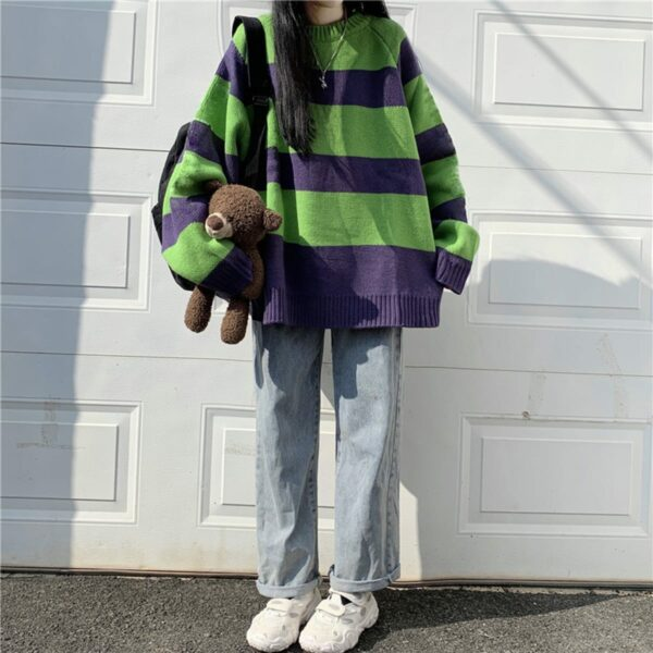 Green and Purple Core Striped Sweater 4 - Orezoria Aesthetic Outfits Shop - Aesthetic Clothing - eGirl Outfits - Soft Girl Outfits.psd