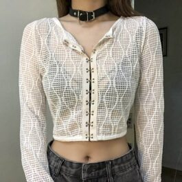 Grid Mesh White Cropped Blouse 2 - Orezoria Aesthetic Outfits Shop - Aesthetic Clothing - eGirl Outfits - Soft Girl Outfits.psd
