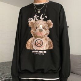 Grumpy Bear Loose Unisex Sweatshirt.1- Orezoria Aesthetic Outfits Shop - Aesthetic Clothing - eGirl Outfits - Soft Girl Outfits