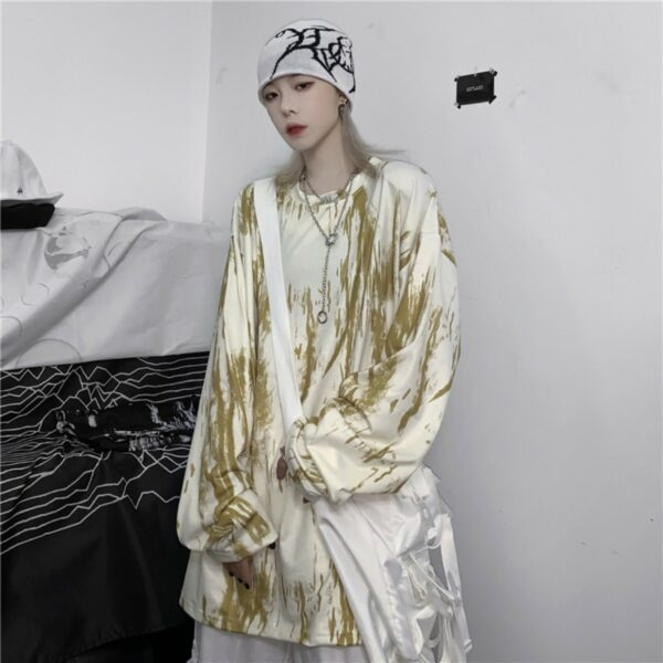 Grunge Painted Oversized Long Sleeve - Orezoria Aesthetic Outfits Shop - Aesthetic Clothing - eGirl Outfits - Soft Girl Outfits.psd