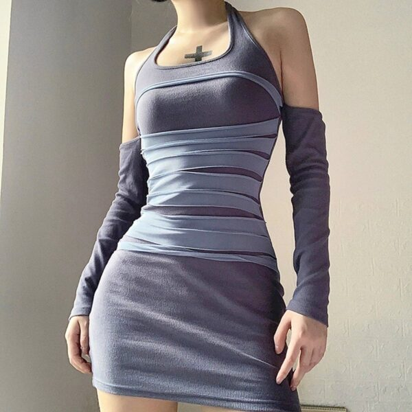 Halter Neck Torso Bands Split Sleeve Dress 1 - Orezoria Aesthetic Outfits Shop - Aesthetic Clothing - eGirl Outfits - Soft Girl Outfits
