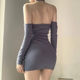Halter Neck Torso Bands Split Sleeve Dress 2 - Orezoria Aesthetic Outfits Shop - Aesthetic Clothing - eGirl Outfits - Soft Girl Outfits