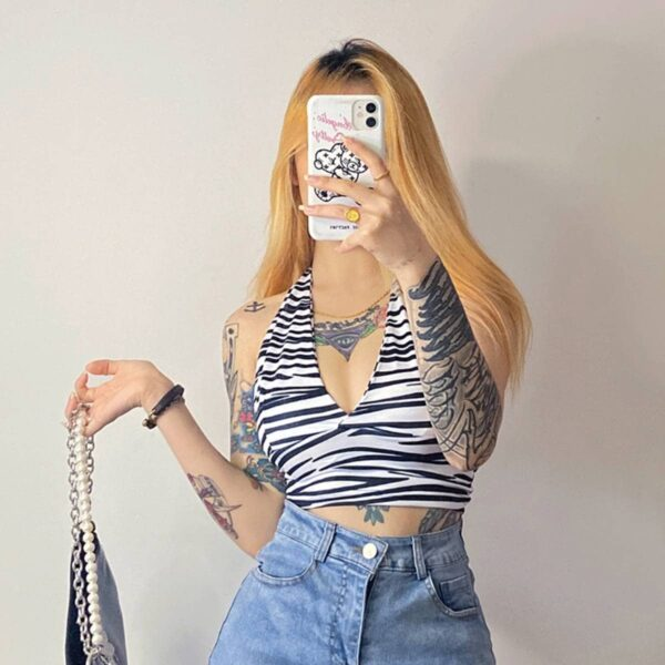 Halterneck White Tiger Aesthetic Crop Top.1- Orezoria Aesthetic Outfits Shop - Aesthetic Clothing - eGirl Outfits - Soft Girl Outfits