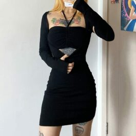 Hanging Neck Open Sleeves Dress - Orezoria Aesthetic Outfits Shop - Aesthetic Clothing - eGirl Outfits - Soft Girl Outfits.psd