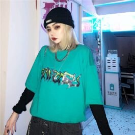 Harajuku Aesthetic Graffiti T-Shirt 1- Orezoria Aesthetic Outfits Shop - Aesthetic Clothing - eGirl Outfits - Soft Girl Outfits