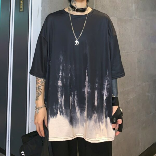 Harajuku Gradient Oversized T-Shirt 2- Orezoria Aesthetic Outfits Shop - Aesthetic Clothing - eGirl Outfits - Soft Girl Outfits