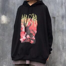 Harizar Red Crawler Loose Hoodie 1- Orezoria Aesthetic Outfits Shop - Aesthetic Clothing - eGirl Outfits - Soft Girl Outfits