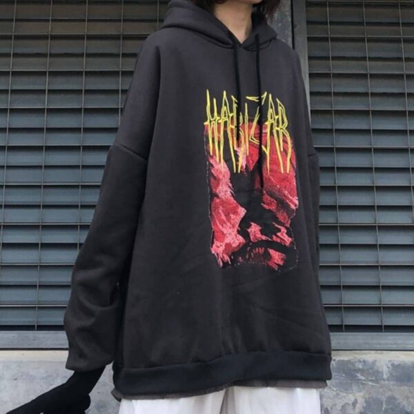Harizar Red Crawler Loose Hoodie 2- Orezoria Aesthetic Outfits Shop - Aesthetic Clothing - eGirl Outfits - Soft Girl Outfits