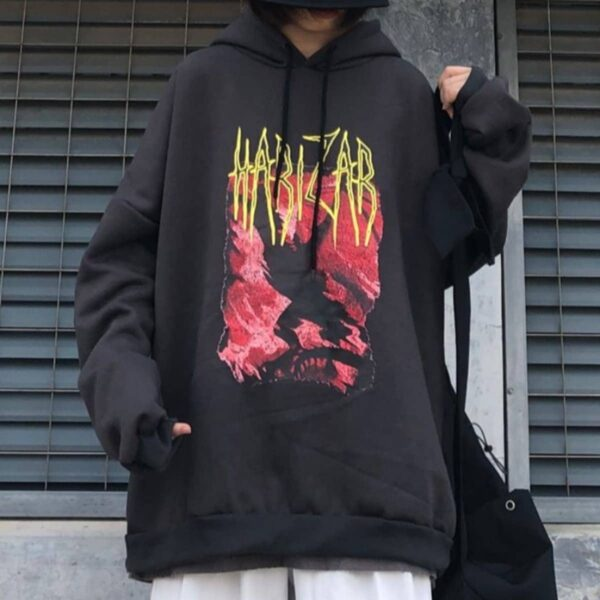Harizar Red Crawler Loose Hoodie 3- Orezoria Aesthetic Outfits Shop - Aesthetic Clothing - eGirl Outfits - Soft Girl Outfits