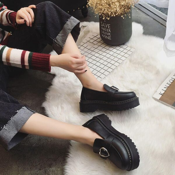 Heart Buckle Soft Girl Creeper Shoes (1) - Orezoria Aesthetic Outfits Shop - Aesthetic Clothing - eGirl Outfits - Soft Girl Outfits