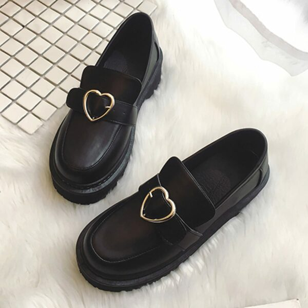 Heart Buckle Soft Girl Creeper Shoes (2)- Orezoria Aesthetic Outfits Shop - Aesthetic Clothing - eGirl Outfits - Soft Girl Outfits