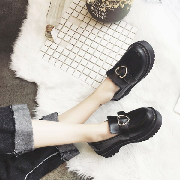Heart Buckle Soft Girl Creeper Shoes (3)- Orezoria Aesthetic Outfits Shop - Aesthetic Clothing - eGirl Outfits - Soft Girl Outfits
