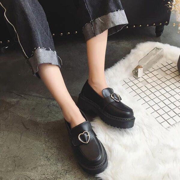 Heart Buckle Soft Girl Creeper Shoes (4)- Orezoria Aesthetic Outfits Shop - Aesthetic Clothing - eGirl Outfits - Soft Girl Outfits