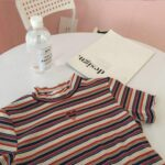 Heart Hole Striped Lumber Peach Crop Top.1- Orezoria Aesthetic Outfits Shop - Aesthetic Clothing - eGirl Outfits - Soft Girl Outfits