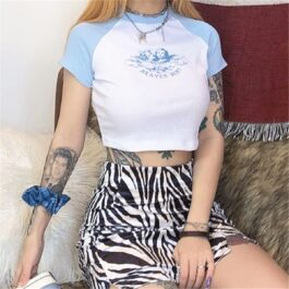 Heaven Sent Angel Blue Raglan Crop Top 1 - Orezoria Aesthetic Outfits Shop - Aesthetic Clothing - eGirl Outfits - Soft Girl Outfits