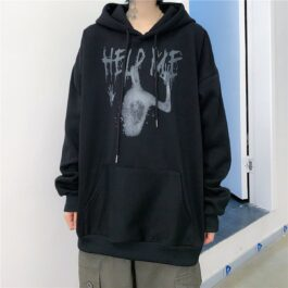 Help Me Horror Core Aesthetic Hoodie 1- Orezoria Aesthetic Outfits Shop - Aesthetic Clothing - eGirl Outfits - Soft Girl Outfits