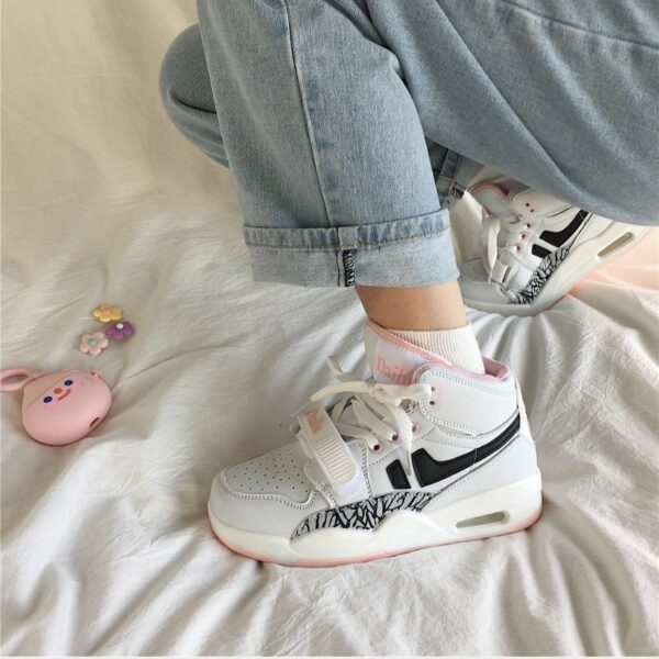 High Ankle Retro Aesthetic Sneakers.1- Orezoria Aesthetic Outfits Shop - Aesthetic Clothing - eGirl Outfits - Soft Girl Outfits