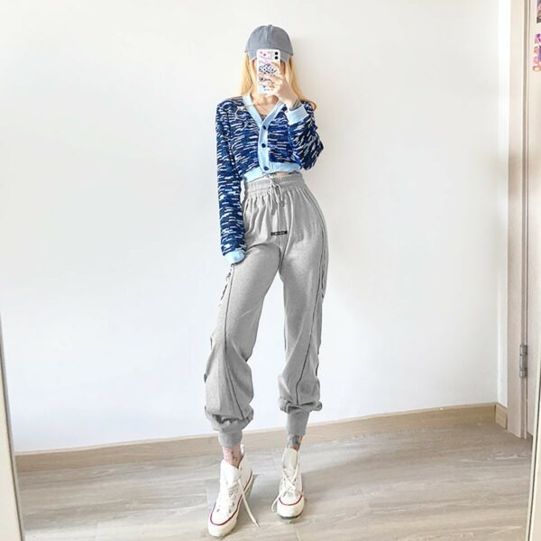 High Ankle Side Block Workout Sweatpants 1- Orezoria Aesthetic Outfits Shop - Aesthetic Clothing - eGirl Outfits - Soft Girl Outfits