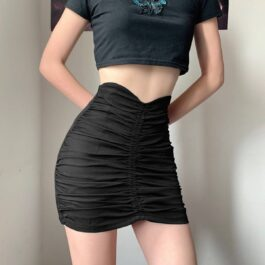 High Hearted Waist Folded Skirt.1- Orezoria Aesthetic Outfits Shop - Aesthetic Clothing - eGirl Outfits - Soft Girl Outfits