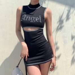 High Neck Sleeveless Angel Short Dress.1- Orezoria Aesthetic Outfits Shop - Aesthetic Clothing - eGirl Outfits - Soft Girl Outfits