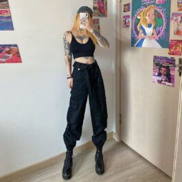 High Waist Loose Cargo Pants 1- Orezoria Aesthetic Outfits Shop - Aesthetic Clothing - eGirl Outfits - Soft Girl Outfits