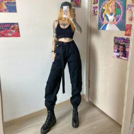 High Waist Loose Cargo Pants 2- Orezoria Aesthetic Outfits Shop - Aesthetic Clothing - eGirl Outfits - Soft Girl Outfits