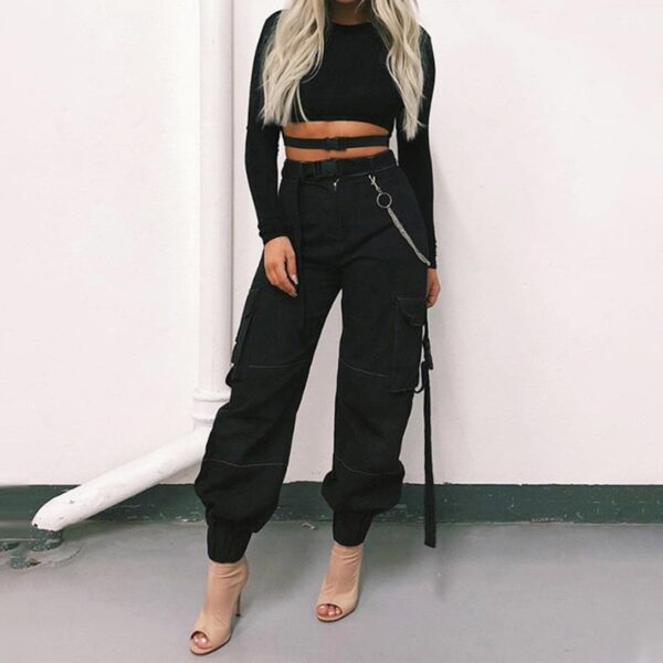 High Waist Nylon Belt Cargo Pants 3 - Orezoria Aesthetic Outfits Shop - Aesthetic Clothing - eGirl Outfits - Soft Girl Outfits